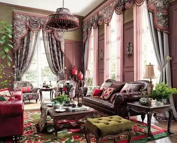 欧式风格客厅窗帘效果图