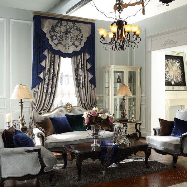 别墅客厅高档欧式绒布窗帘定制