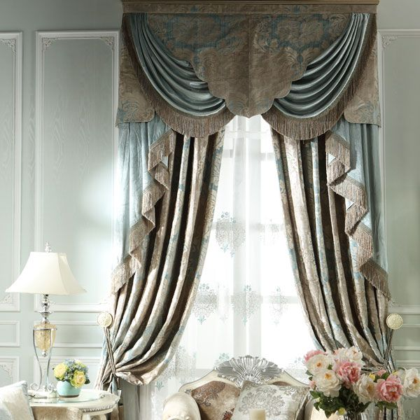 别墅复式客厅欧式风格落地窗帘效果图