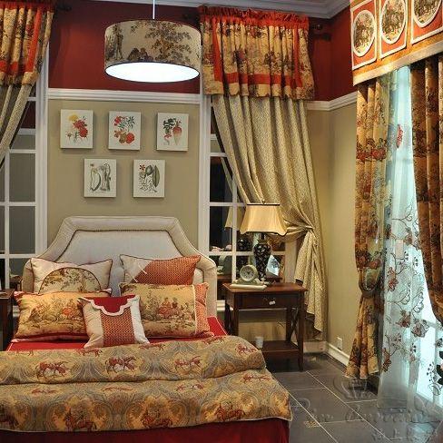 主卧室中式风格窗帘定制效果图