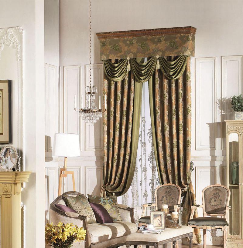 美式风格提花窗帘布艺效果图