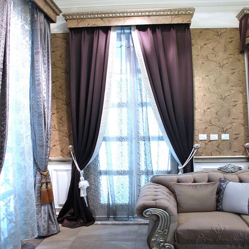 卧室新古典风格绒布窗帘效果图